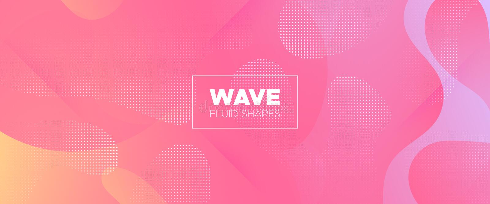 Orange Flow Background. Colorful Abstract Shapes. Modern Geometric Poster. Graphic Pattern. Fluid Background. Pink Abstract Liquid. Trendy Dynamic Wallpaper royalty free illustration