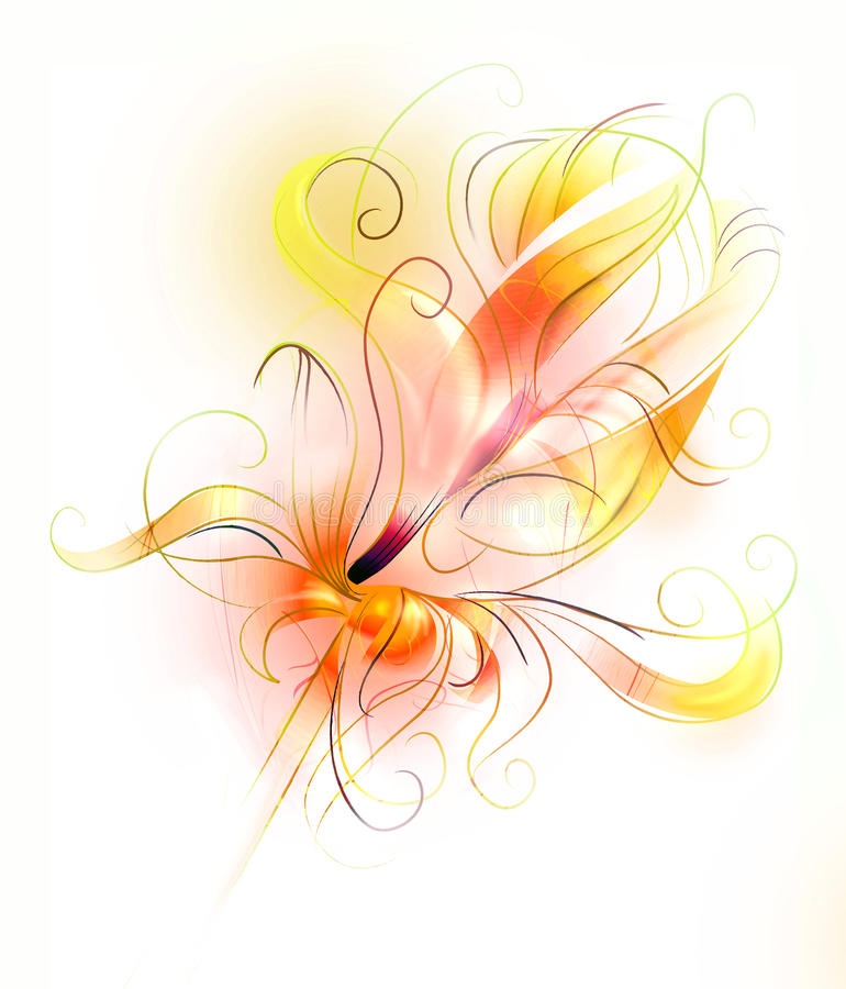 Orange flower in fire - artistic sketch stock images
