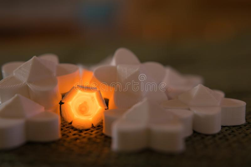 Orange flower glowing within a collection of pieces stock images