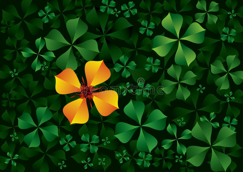 Download Orange flower green leaves stock vector. Image of illustrated - 24532402