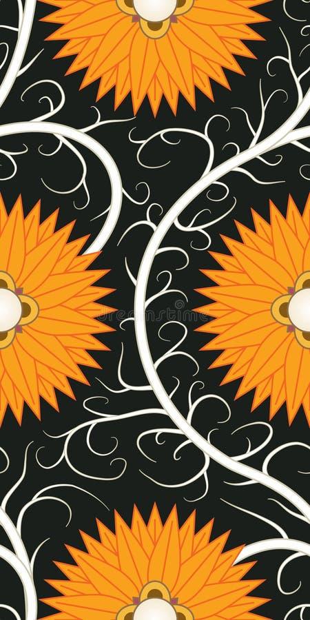 Orange Flower Seamless Pattern Stock Photo
