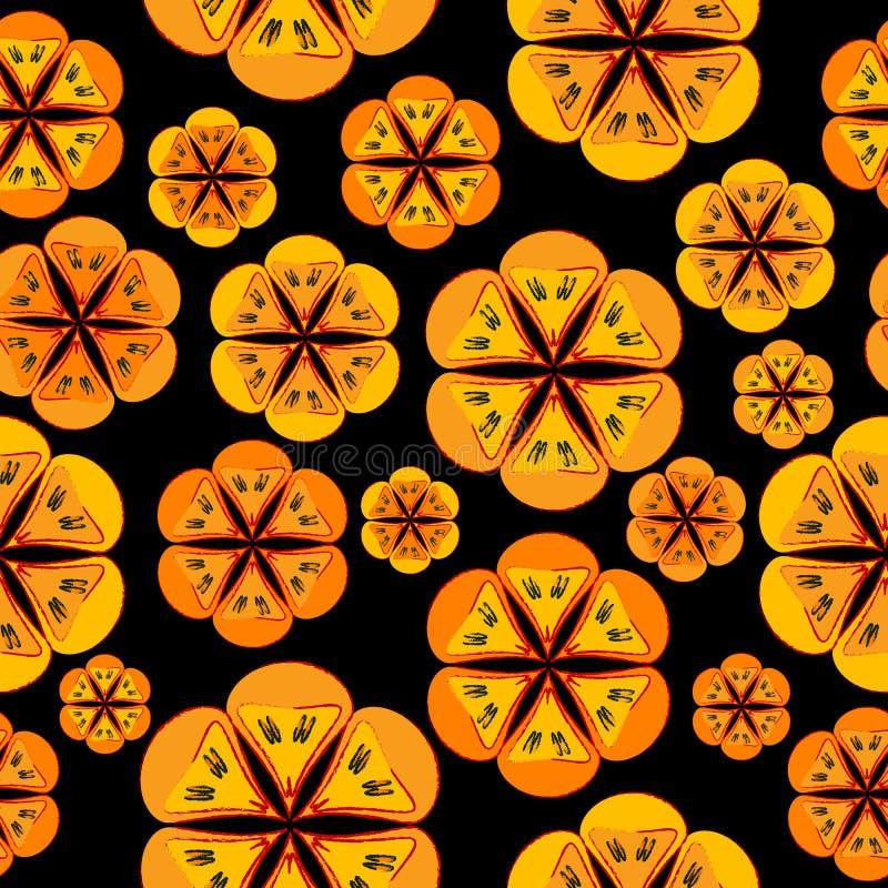 Download Orange Flowers Background Seamless Pattern Stock Illustration - Illustration of garden, funky: 28627256