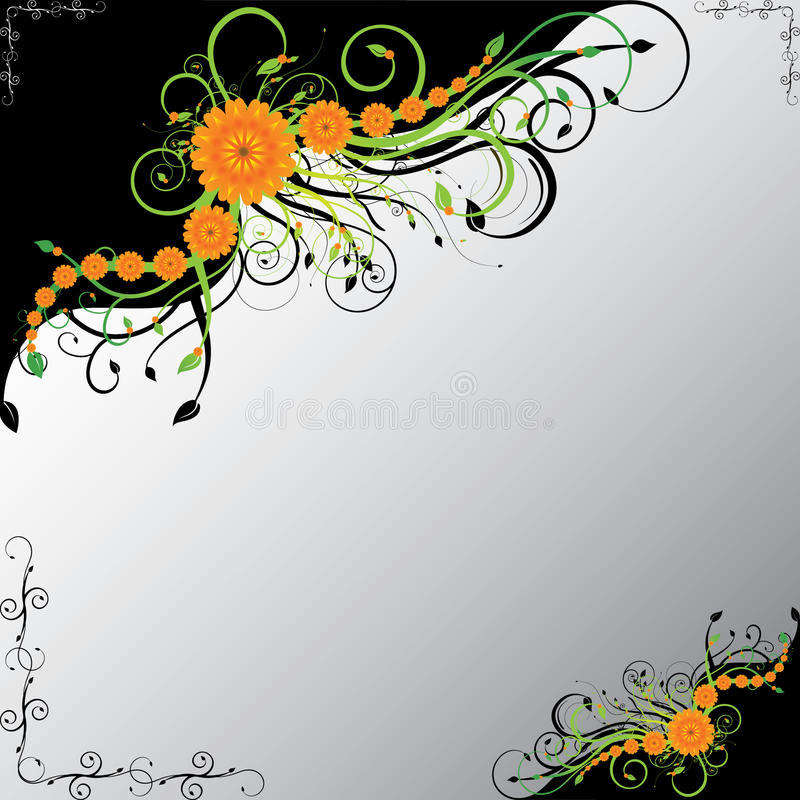 Download Orange Flowers With Green Swirls Stock Photos - Image: 10617623