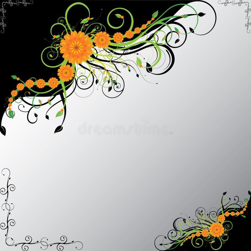 Orange flowers with green swirls. On black corners vector illustration