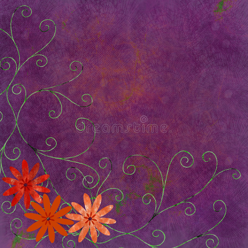 Download Orange flowers with swirls stock illustration. Image of canvas - 2837792