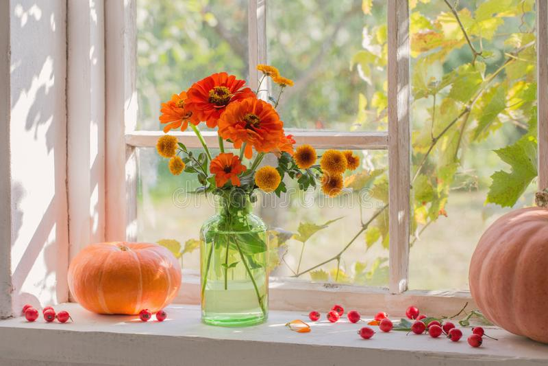 Orange Flowers In Vase On Windowsill Stock Photo - Image ...
