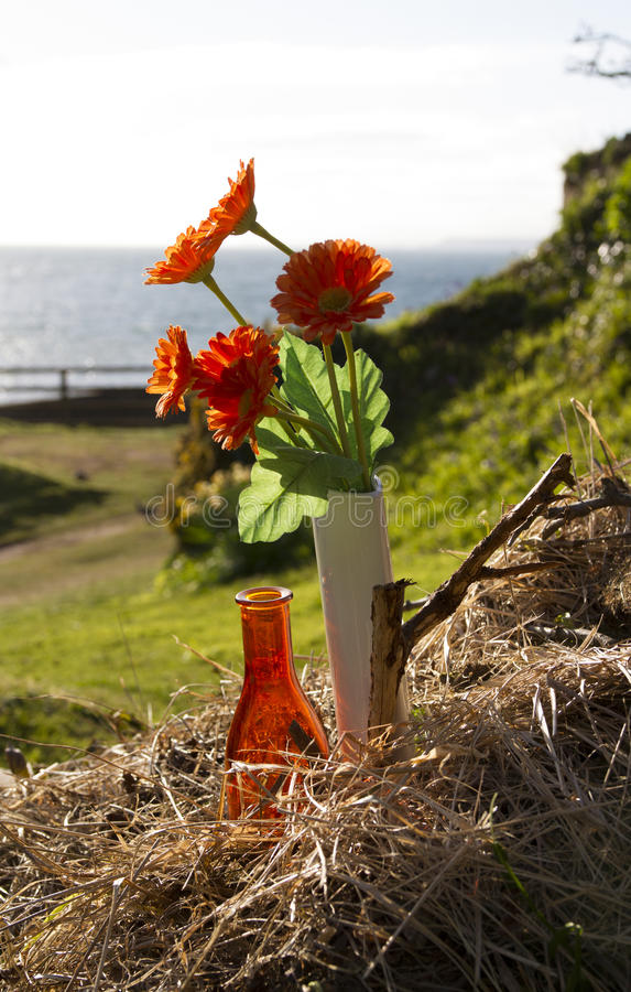 Orange flowers in a white bottle with an orange bottle in straw. Orange fake flowers in a white bottle with an orange bottle in straw. Against a grassy bank and stock images