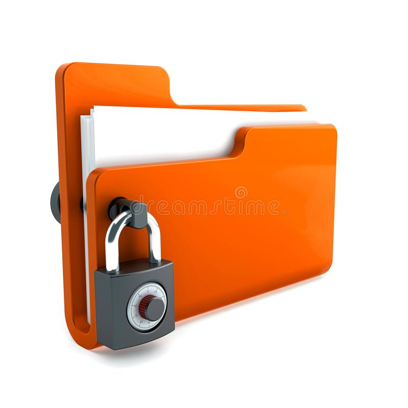 Orange folder with the lock isolated on white background. Data security concept. 3d render vector illustration