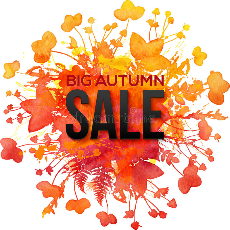 Orange foliage splash Big Autumn Sale banner vector illustration