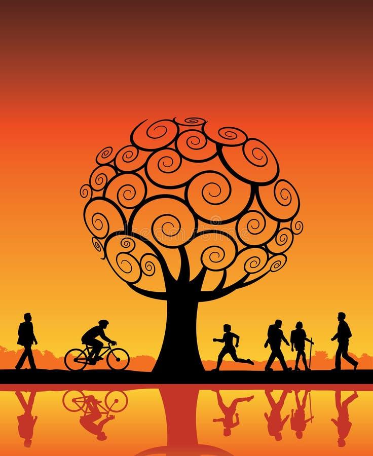 orange folktree stock illustrationer