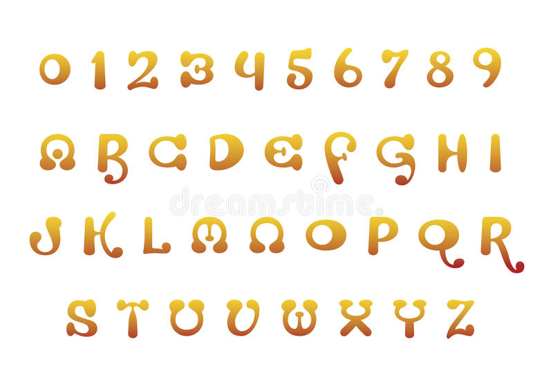 Download Orange font set stock vector. Illustration of numbers - 23682115