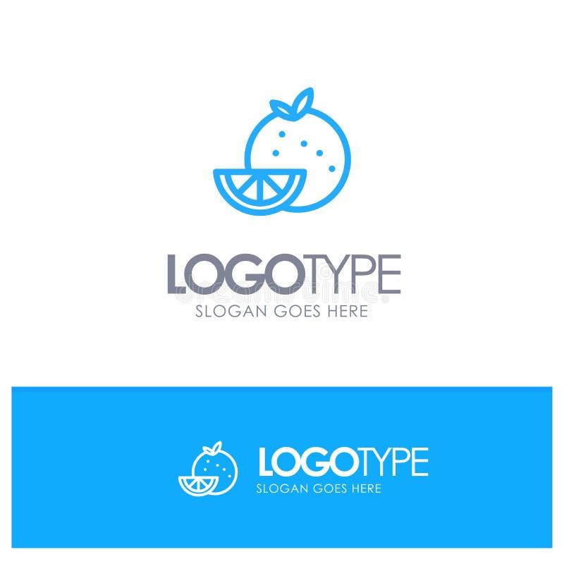 Orange, Food, Fruit, Madrigal Blue Outline Logo Place для Tagline иллюстрация вектора