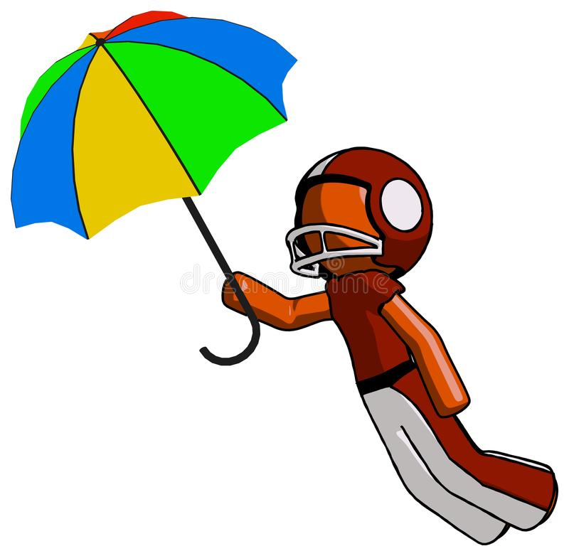Orange Football Player Man Flying With Rainbow Colored Umbrella. Toon Rendered 3d Illustration royalty free illustration