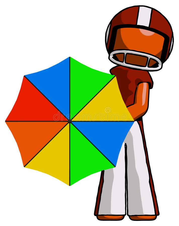 Orange Football Player Man Holding Rainbow Umbrella Out To Viewer. Toon Rendered 3d Illustration royalty free illustration
