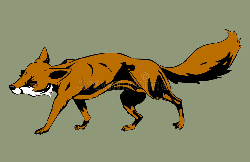 Orange Fox Illustration. A simplified sly fox in motion stock illustration