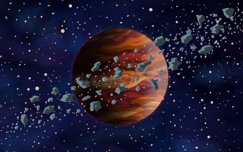 Orange främmande planet för original- exotisk fantasi med asteroidbältet runt om det Utrymmeplatsmiljö vektor illustrationer