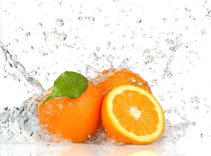 Orange Früchte und spritzen Wasser stockfotografie