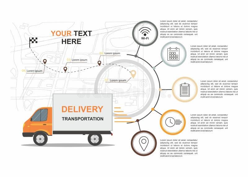 Orange Fracht-Lieferungs-Geschäft infographic mit Transport lizenzfreie abbildung