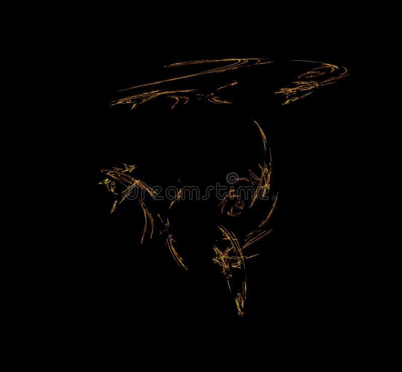 Orange fractal illustration on black background. Digital art. 3D rendering. Computer generated image.  royalty free illustration