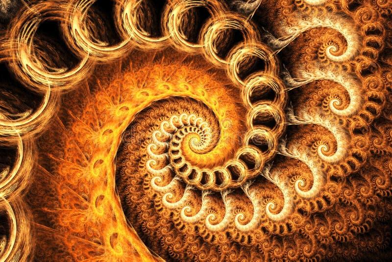 Orange Fractal Spiral vector illustration