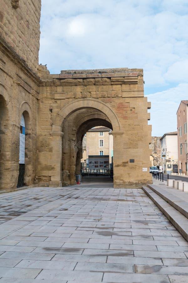 Entrance to the antique Roman theatre stock photo