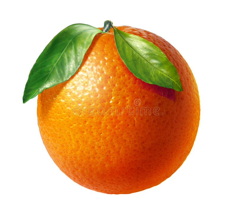 Orange fresh fruit with two leaves, at white background. Clipping path included royalty free stock photos