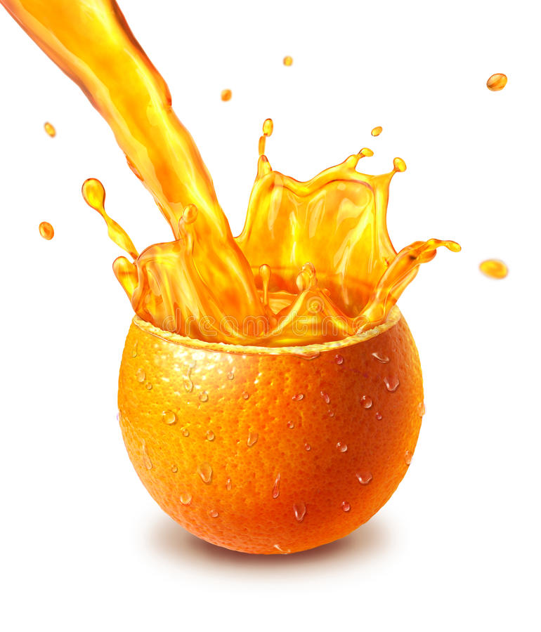 Orange frische Frucht schnitt zur Hälfte, mit einem Saftspritzen in der Mitte. stockfoto