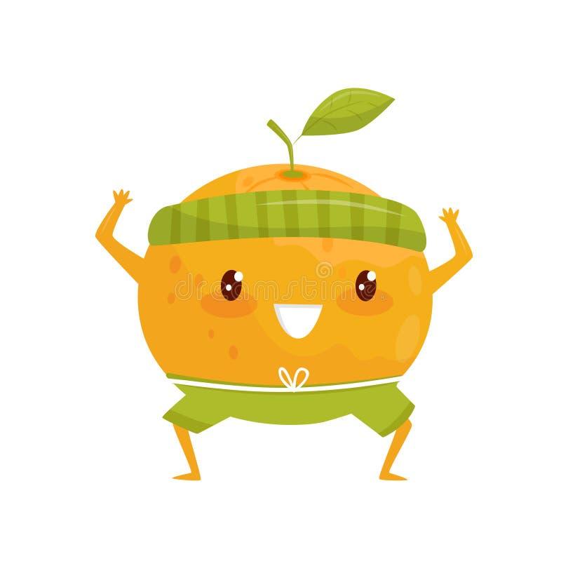 Orange Frucht, die Sport, sportive Fruchtzeichentrickfilm-figur tut Eignungsübungs-Vektor Illustration auf einem Weiß tut vektor abbildung