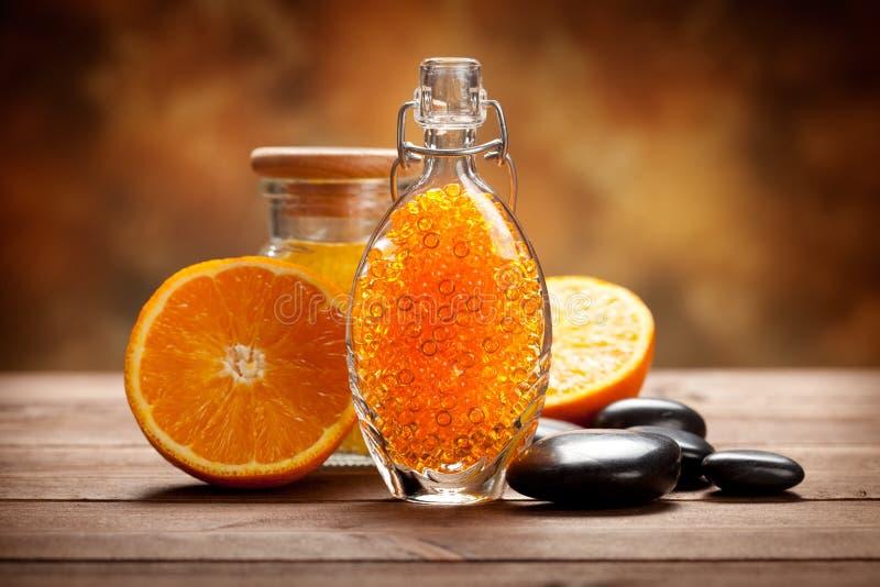 Orange - Frucht und Badesalz lizenzfreies stockbild