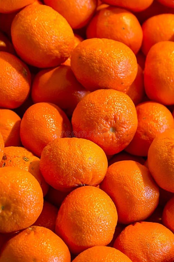 Orange fruit background, juicy ripe mandarine set of fruits tray market vertical pattern bright base royalty free stock image