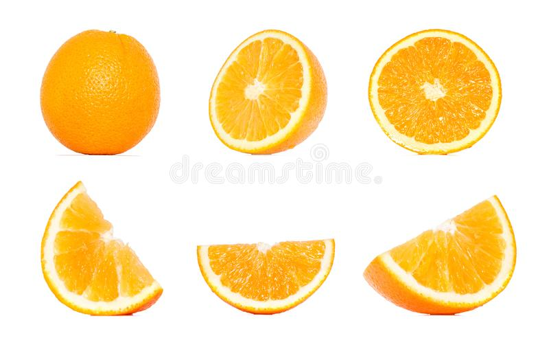 Orange fruit collection in different variations isolated over white background. Whole and sliced orange. Orange Clipping Path. Orange fruit collection in stock image