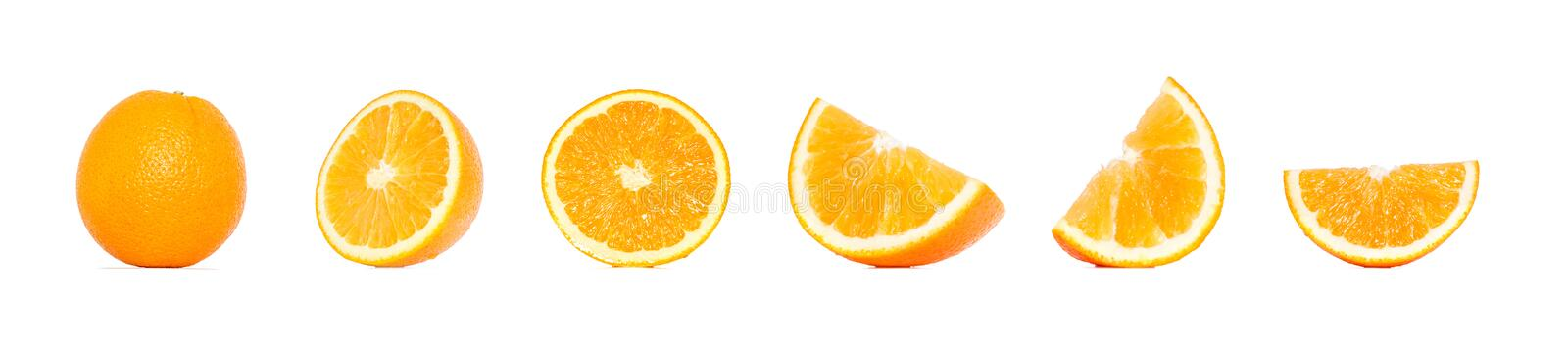 Orange fruit collection in different variations isolated over white background. Whole and sliced orange. stock photography