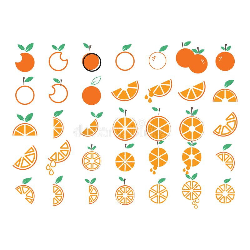 Orange fruit collection set graphic design template vector. Green, diet, logo, icon, abstract, fresh, summer, delicious, taste, lime, vitamin, label vector illustration