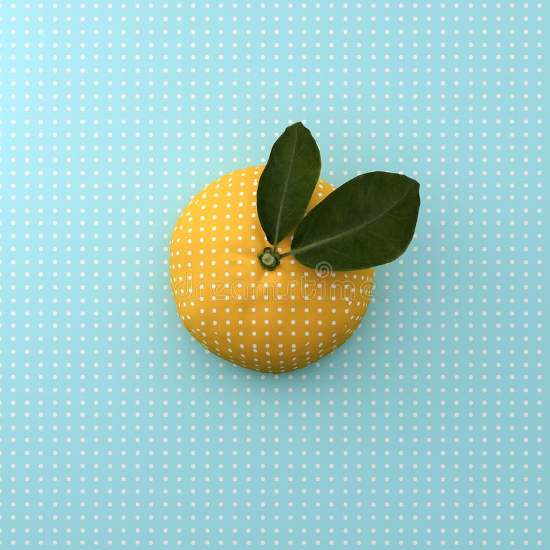 Orange fruit dot on point pattern blue background. minimal idea stock photo