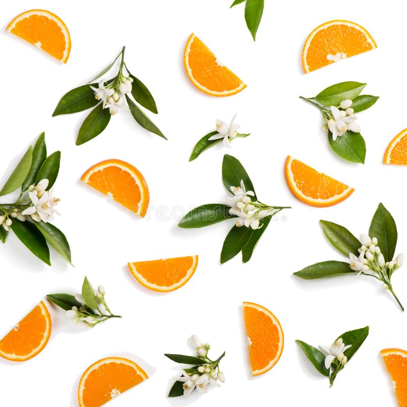 Orange fruit and flovers, above view. stock photos