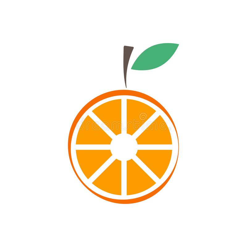Orange fruit graphic design template vector isolated. Green, diet, logo, icon, abstract, fresh, summer, delicious, taste, lime, vitamin, label, vegetarian stock illustration