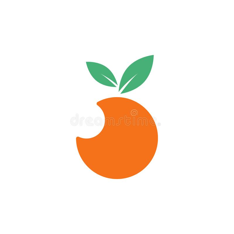 Orange fruit graphic design template vector isolated. Logo, icon, abstract, fresh, summer, delicious, taste, lime, vitamin, label, vegetarian, product, garden stock illustration