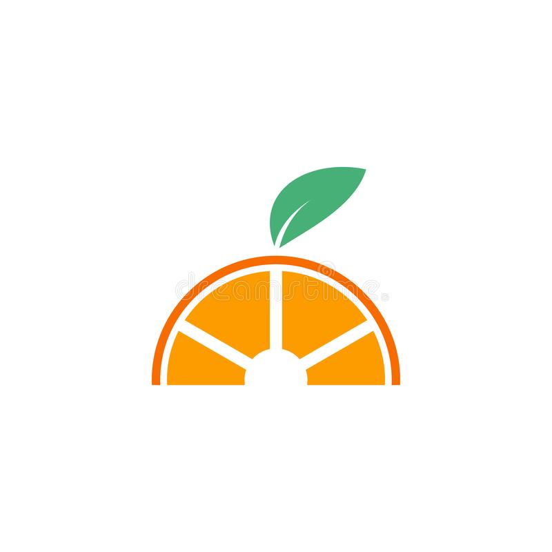 Orange fruit graphic design template vector isolated. Green, diet, logo, icon, abstract, fresh, summer, delicious, taste, lime, vitamin, label, vegetarian royalty free illustration