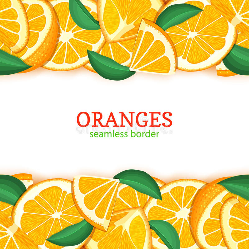 Orange fruit horizontal seamless border. Vector illustration card top and bottom Fresh tropical mandarin whole and slice. For design tea, ice cream, natural royalty free illustration
