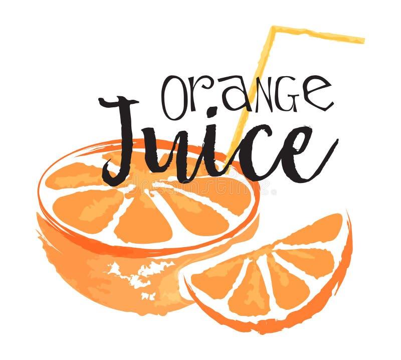 Orange fruit label and sticker royalty free illustration