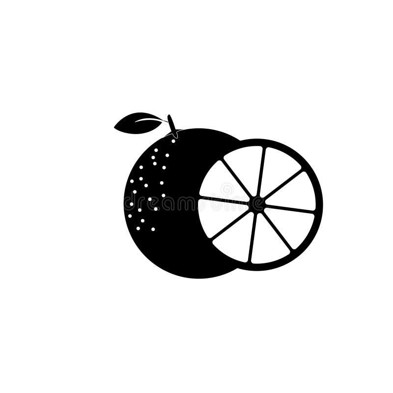 Orange fruit with leaf and slice. Vector illustration. On white background stock illustration