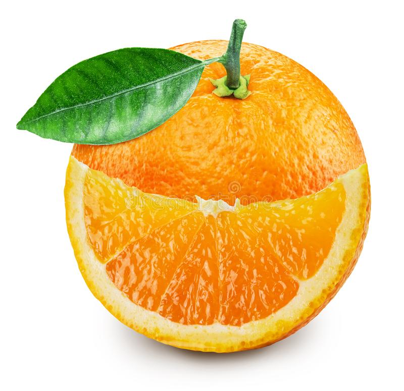 Orange fruit with orange leaf and smiling slice isolated on white background. File contains clipping path. ÑŽ royalty free stock photos
