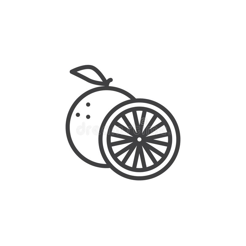 Orange fruit line icon. Linear style sign for mobile concept and web design. Orange whole and slice outline vector icon. Symbol, logo illustration. Vector vector illustration