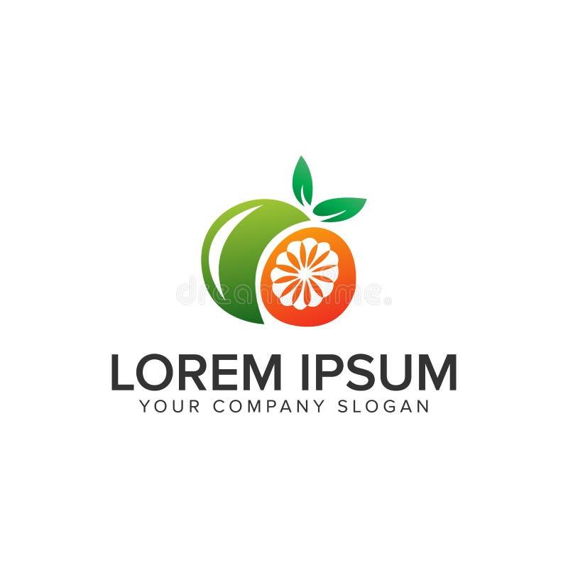 Orange fruit logo design concept template. fully editable stock illustration