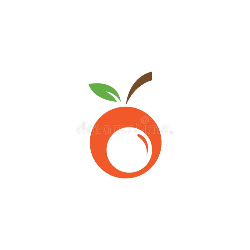 Orange fruit logo. Vector illustration template, icon, food, design, fresh, juice, background, symbol, citrus, healthy, leaf, natural, isolated, organic, diet stock illustration