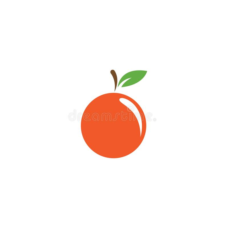 Orange fruit logo. Vector illustration template, icon, food, design, fresh, juice, background, symbol, citrus, healthy, leaf, natural, isolated, organic, diet royalty free illustration