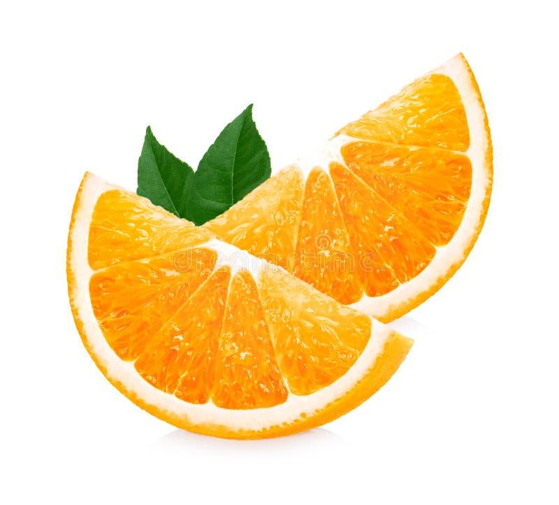 Orange fruit. Orang slice with leaves isolated on a white background stock photography
