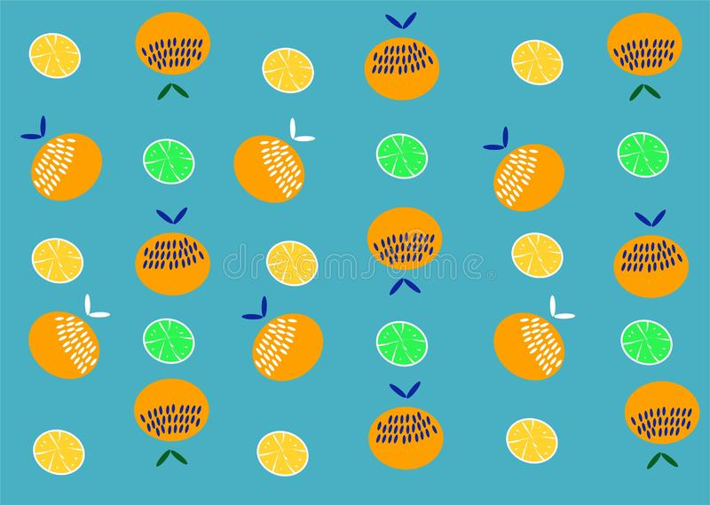 Orange Fruit pattern. Summer Oranges background lemon. Tropical  pattern with oranges. Fruit repeated background. Vector bright print for fabric or wallpaper royalty free illustration