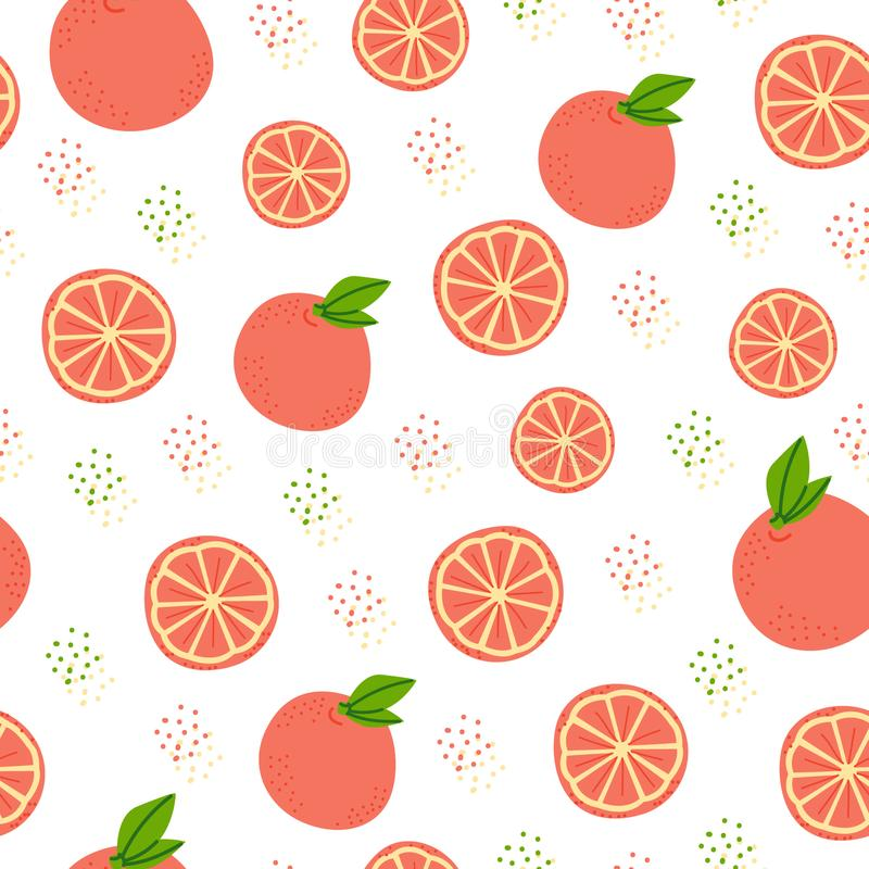 Orange fruit seamless pattern. Orange fruit flat vector seamless pattern. Organic products wrapping paper, texture. Natural healthy food color backdrop. Oranges vector illustration