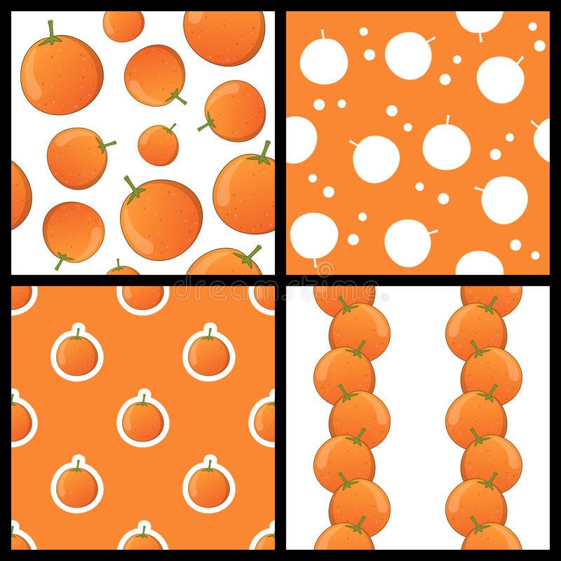 Orange Fruit Seamless Patterns Set. Collection of four seamless patterns with oranges, on white and orange background. Useful also as design element for texture royalty free illustration